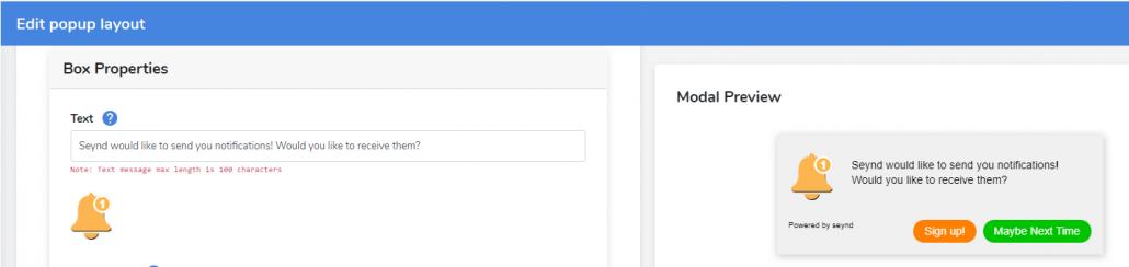 custom web push notification prompt message
