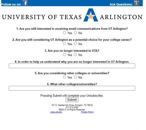 University of Arlington unsubscribe exit survey